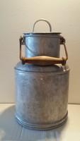 Régi alumínium tejes kanna vintage tejhordó füles fedeles edény fém kandli