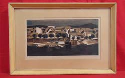 Litkei József (1924-1988) Dunapart - Gyönyörű színezett rézkarc alkotás keretezve