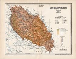 Lika - Krbava vármegye térkép 1897 (5), lexikon melléklet, Gönczy Pál, 23 x 30 cm, megye, Posner K.
