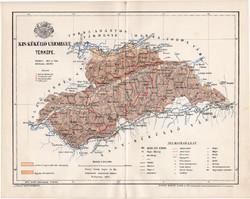 Kis Küküllő vármegye térkép 1894 (5), lexikon melléklet, Gönczy Pál, 23 x 29 cm, megye, Posner K.