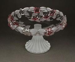 1F270 Walter glas talpas üveg asztalközép kínáló rózsaszín színezéssel 10.5 c