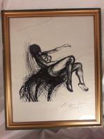 Jelzett női akt tusrajz tus rajz keretezett