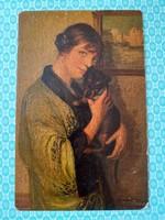 Régi képeslap Degi Gemälde levelezőlap hölgy kutya