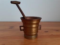 Antik bronz mozsár, patika mozsár