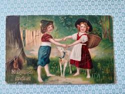 Régi húsvéti képeslap 1913 gyerekek levelezőlap