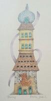 Molnár Gabriella - Torony 25 x 10 cm akvarell, papír