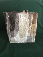 Jelzett szögletes kerámia váza műremek a 70-es évekből 35 cm