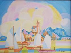 Pleidell János : Tihany (képcsarnokos festmény, 50 x 70 cm)