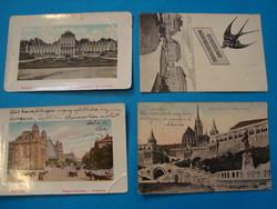 4 db budapesti képeslap , 1910 előtti. Lukács fürdő, Nyugati PU., Mátyás lépcső, Fecskés,