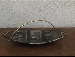 Iparművész kerámia asztalközép kínáló dísztál P259