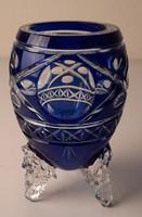 Art Deco pácolt, csiszolt, hámozott kristály váza