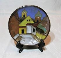 Maurer Katalin - kerámia falitányér, falidísz - Szentendre  - 12 cm