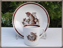 Ritka macskás, cicás, Kahla porcelán bögre tányér szett 1.