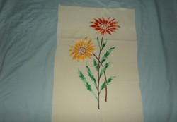 Kézi hímzésű virágos terítő, falikép