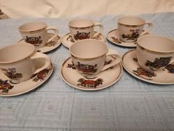 OLD TIMER autó mintás Zsolnay kávés csészék
