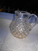 Antik bütykös üvegből keresztelő kancsó,  szakított üveg