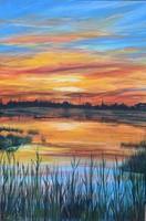 Vízpart akril festmény