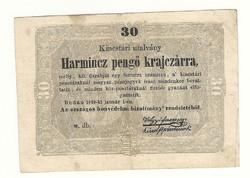 1849 es 30 pengő krajczárra Kossuth bankó papírpénz bankjegy 48 49 es szabadságharc pénze sor : w db