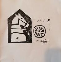 Bálin Endre(1914-1986): Linómetszet, illusztráció!
