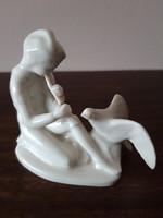 Ritka gyűjtői antik Drasche Furulyás Palkó, furulyás fiú figura