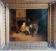 Gyönyörű olajfestmény az 1800as évekből! Szignózott (nincs feloldva még) Osztrák/német/holland?