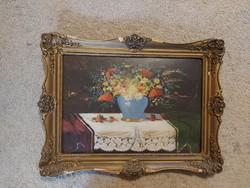 Garay szignós, öreg festmény, csendélet, olaj, karton, 25x35+keret