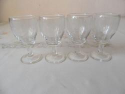 Antik, régi talpas üveg likőrös pohár ( 4 db.)