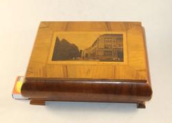 Antik intarziás fa szivardoboz 972