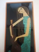 Retro vintage midcentury csempekép iparművészeti Lány gitárral magyar kerámia Bolbáné Szeles Magda