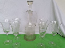 Régi csiszolt üveg boros készlet