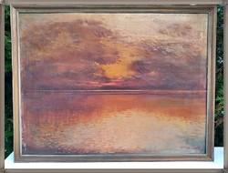 Balatoni naplemente, olaj, vászon festmény