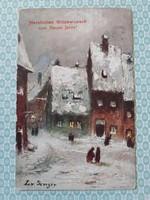 Régi karácsonyi képeslap 1930 téli tájkép L.V. Senger művészi levelezőlap