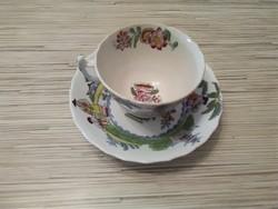 Antik kézzel festett Keleti porcelán teás csésze kistányérral.