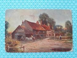 Régi képeslap 1925 vidéki életkép művészi levelezőlap