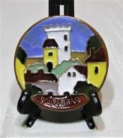 Maurer Katalin - kerámia falitányér, falidísz - Visegrád - 8 cm