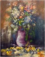 Virágcsendélet, olajfestmény