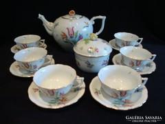 Herendi porcelán madaras teáskészlet