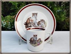 Ritka macskás, cicás, Kahla porcelán bögre tányér szett 2.