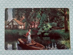 Régi képeslap Karl Rumpel a malomnál művészi levelezőlap