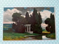 Régi képeslap Eduard Rüdisühli művészi tájkép levelezőlap
