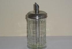 Régi nagyméretű üveg cukortartó fém tetővel, adagolóval