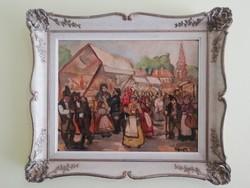 Gyönyörűen megfestett falusi életkép - Pólya T.