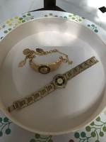 Medúza fejes aranyozott vintage óra és hozzá illő aranyozott bizsu karkötő
