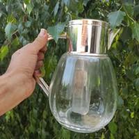 Gyönyörű kancsó fém tetejű, üveg test,járatta,dekantàló,limonàdé-bor kínàló ,hűtő részes kózép