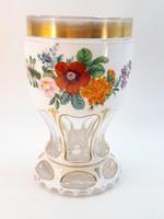 Antik bieder üveg pohár, váza