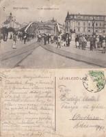 Románia Nagyvárad Kis híd a Szent László térrel 1914 RK MET . középen törve