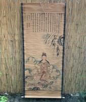 KÍNAI AKVARELL FESTMÉNY FALI TEKERCS BUDDHISTA BUDDHA ÁBRÁZOLÁS ÉS KALLIGRÁFIA KÍNA JAPÁN ÁZSIA