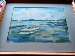Balatoni Kikötő Szignózott  Akvarell Festmény