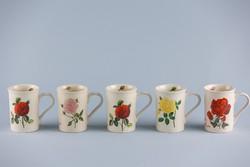 Rosenberger porcelán, rózsás bögrék, 5 darab.