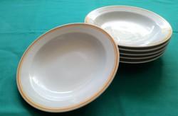 6 személyes,Alföldi porcelán, narancssárga csíkos  leveses tányérkészlet